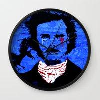 edgar allen poe Wall Clocks featuring Edgar Allen Poe by Pluto00Art / Robin Brennan