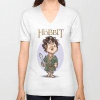 the hobbit V-neck T-shirts featuring The Hobbit by Roberto Núñez