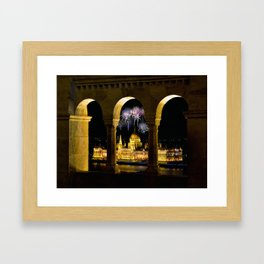 Hungarian Parliament with fireworks, Framed Art Print
