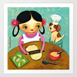 Making Pierogis with doggy Cute cooking art by Tascha Art Print