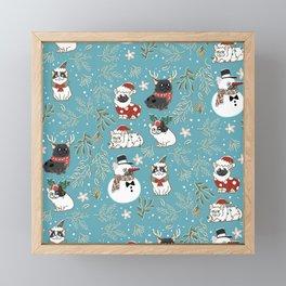 Christmas French Bulldog Framed Mini Art Print