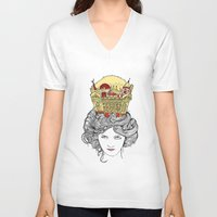 montreal V-neck T-shirts featuring The Queen of Montreal by Jesse Robinson Williams