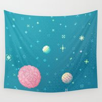 8bit Wall Tapestries featuring Brain Planet (8bit) by Sarajea