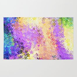 flower pattern abstract background in purple yellow blue green Rug