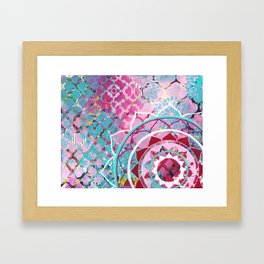 Pink and Turquoise Mixed Media Mandala Framed Art Print