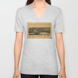 Aerial View of Wolfeborough, New Hampshire (1889) Unisex V-Neck