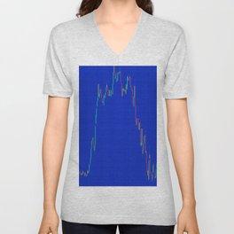 Grid  blue with color chart Unisex V-Neck