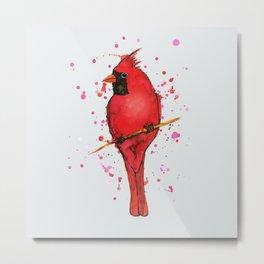 Northern cardinal Watercolor Metal Print