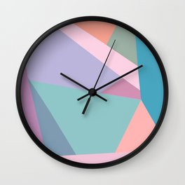 Fractured Triangles in Playful Color Wall Clock