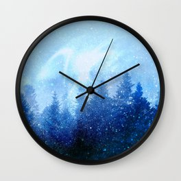 The forest awakens from the mist Wall Clock