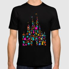 Multicolored castle characters with pink Black Mens Fitted Tee MEDIUM