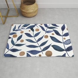 Watercolor berries and branches - indigo and beige Rug
