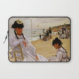 On the Beach at Trouville by Claude Monet Laptop Sleeve