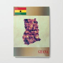 Ghana Map with Flag Metal Print