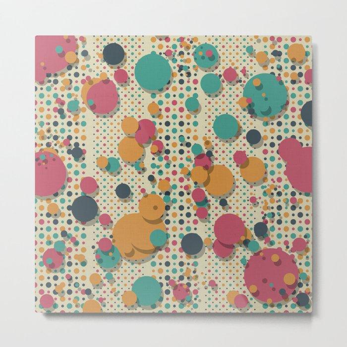 """Retro Colorful Polka Dots 02"" Metal Print"