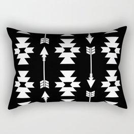 Southwestern Arrow Pattern 235 Black and White Rectangular Pillow