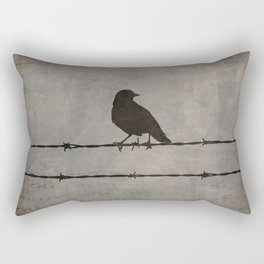 Rustic Black Bird Barbed Wire Modern Country Home Decor Art Matted Picture A476 Rectangular Pillow