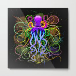 Octopus Psychedelic Luminescence Metal Print
