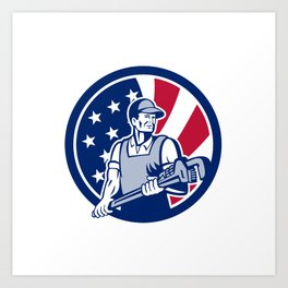 American Plumber and Pipefitter USA Flag Icon Art Print
