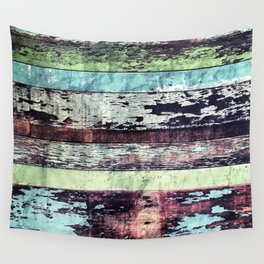 Reclaimed Colorful Vintage Wooden Boards Wall Tapestry
