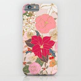 Elegant Golden Strokes Colorful Winter Floral iPhone Case