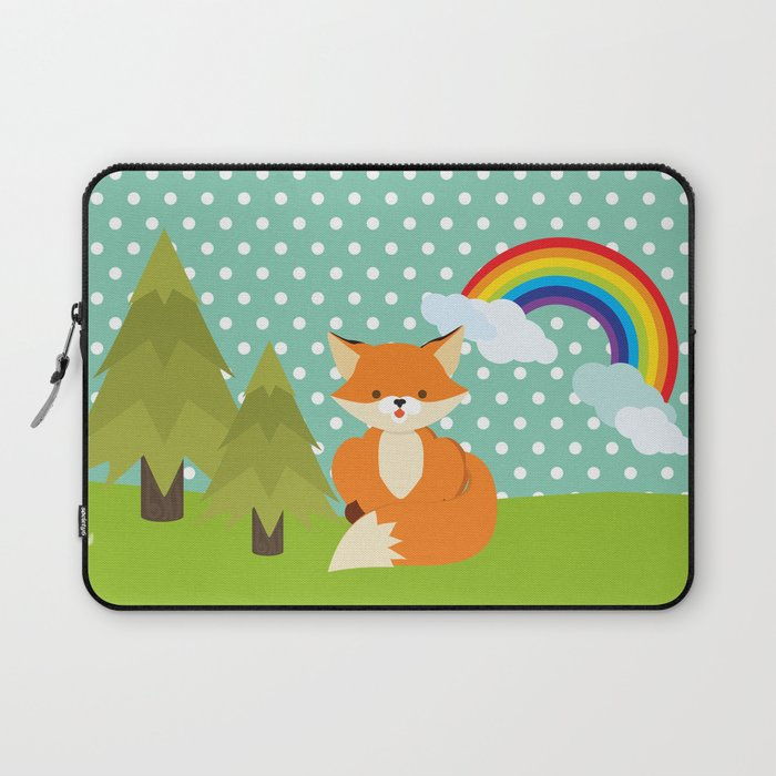 Fox, Rainbow , nursery decor , children gift, birthday gift Laptop Sleeve