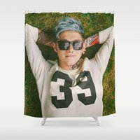 niall horan Shower Curtains featuring Niall Horan Punk Edit by Vinny's Edits
