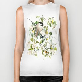 chickadee and dogwood, chickadee art design floral Biker Tank