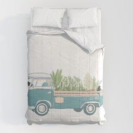 TukTuk Cat Van/truck deliver Plants & Flower Comforters