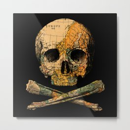 Treasure Map Skull Wanderlust Europe Metal Print
