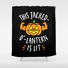 This Jacked-O'-Lantern Is Lit Shower Curtain