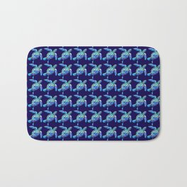Sea Turtle Pattern Blue Bath Mat