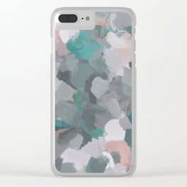 Mint Teal Blue Coral Pink Heather Gray Abstract Flower Wind Expressive Painting Modern Wall Art Clear iPhone Case