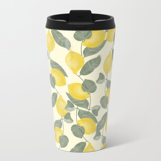 Citrus Pattern Metal Travel Mug