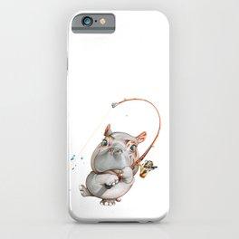 A hippopotamus fishing iPhone Case