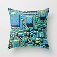 technology Throw Pillows featuring Crowded Technology  by mark jones