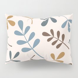 Assorted Leaf Silhouettes Blues Brown Gold Cream Pillow Sham