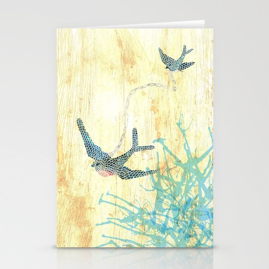 Birds of blue Stationery Cards