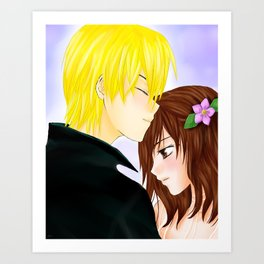 A kiss on your forehead Art Print