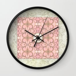 Monogrammed Letter M Scroll Swirl Modern Pattern in Pink Wall Clock