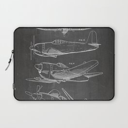 Wedberg Airplane Patent - Us Air Force Art - Black Chalkboard Laptop Sleeve