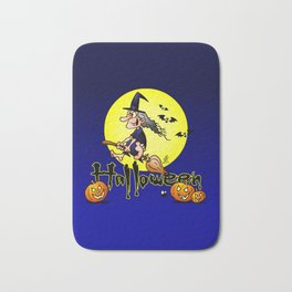 Halloween, witch on a broom, bats and pumpkins Bath Mat