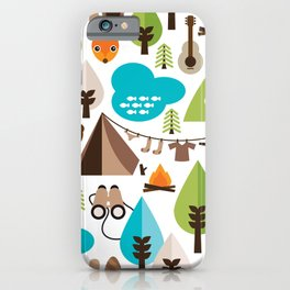 Wild camping trip with fox and wild animals illustration iPhone Case