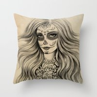 sugar skull Throw Pillows featuring Sugar Skull by Vivian Lau