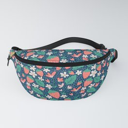 Spring Strawberries on Blue Fanny Pack