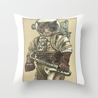saxophone Throw Pillows featuring Space Cat with Saxophone by Felis Simha