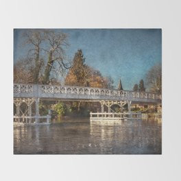 The Toll Bridge At Whitchurch-on-Thames Throw Blanket