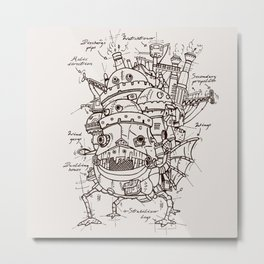Howl's Moving Castle Plan Metal Print