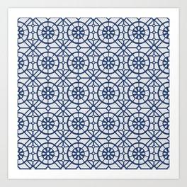 Azul Tiles II - Blue on White  (Patterns Please) Art Print