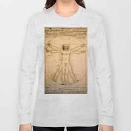 Vitruvian Man by Leonardo da Vinci Long Sleeve T-shirt